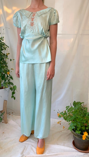 Aqua Silk Pajama Set With Cream Lace