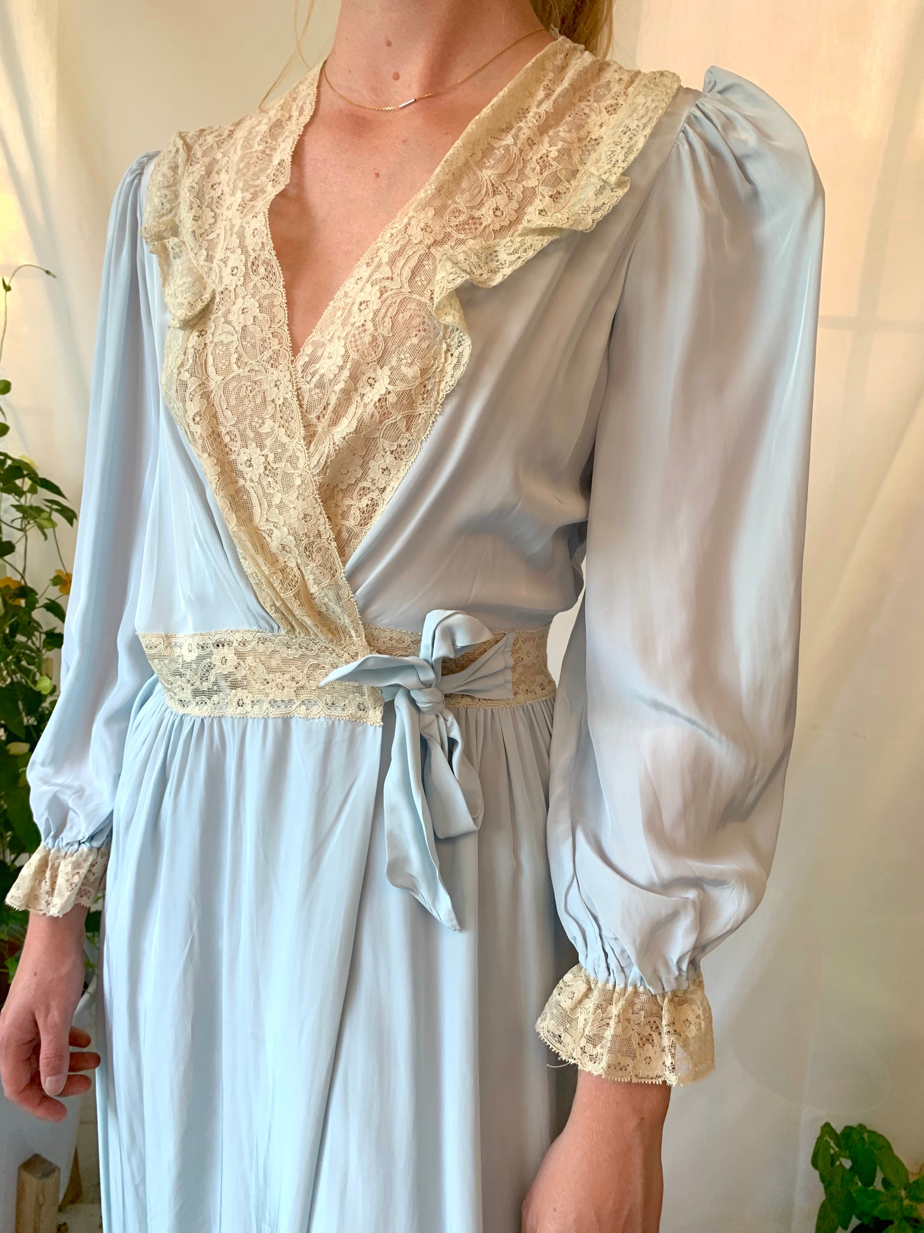 1940's Baby Blue Silk Robe with Cream Lace