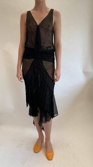 1920's Black Chiffon Drop Waist Dress