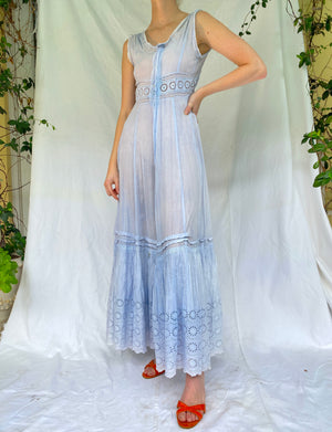 Hand Dyed Sky Blue Victorian Dress