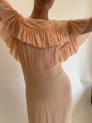 1930's Powder Peach Lounge Dress