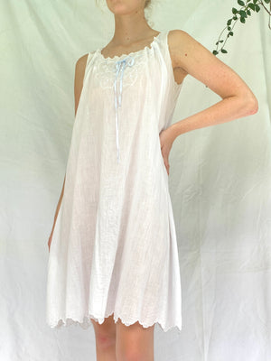 White Cotton Victorian Slip with Baby Blue Ribbon
