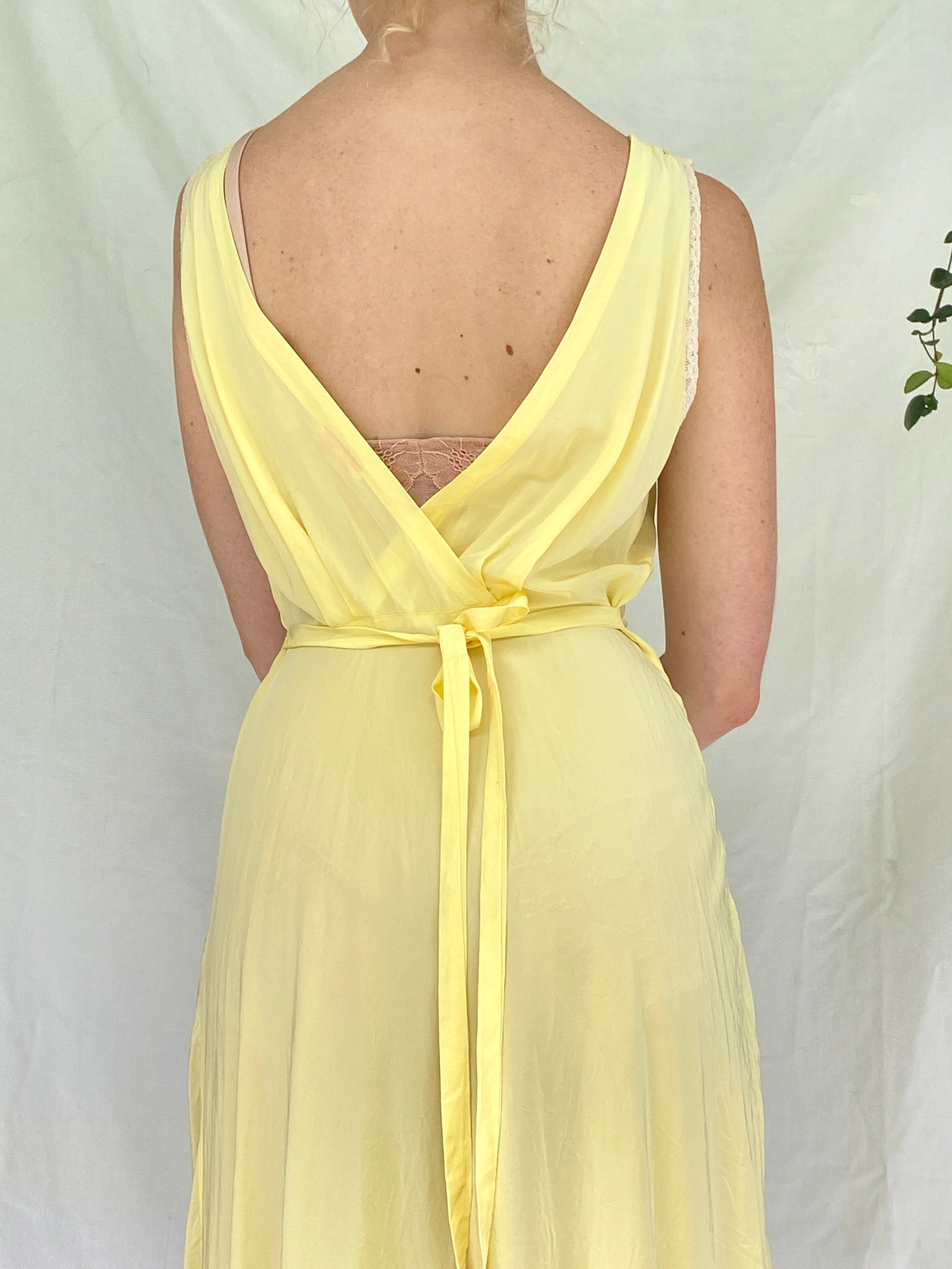 1930's Yellow Slip with Cream Lace