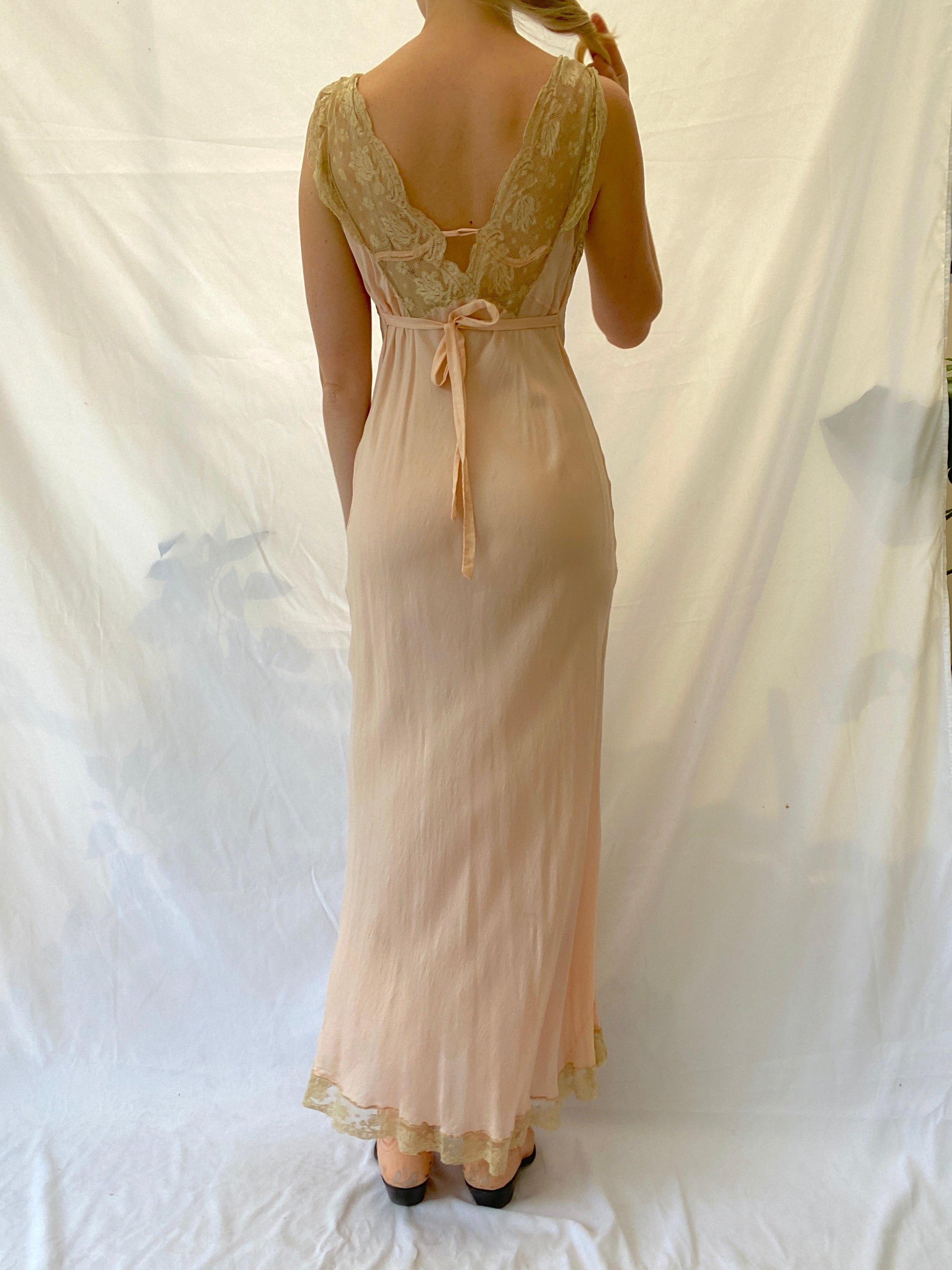 Pale Pink Slip with Cream Lace