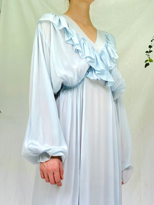 Baby Blue Long Sleeve Silk Dress With Ruffles