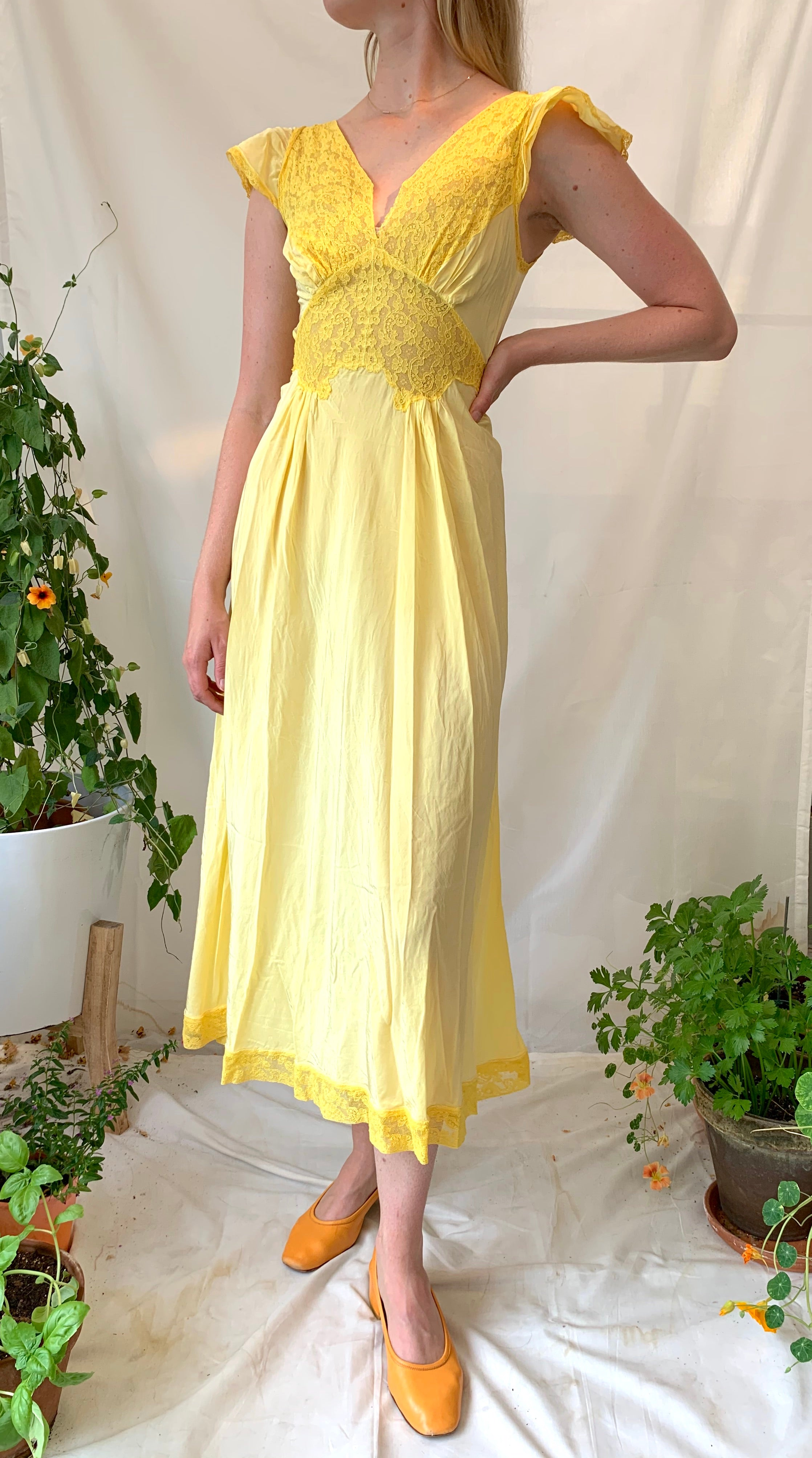 Hand Dyed Sunflower Yellow Slip Dress