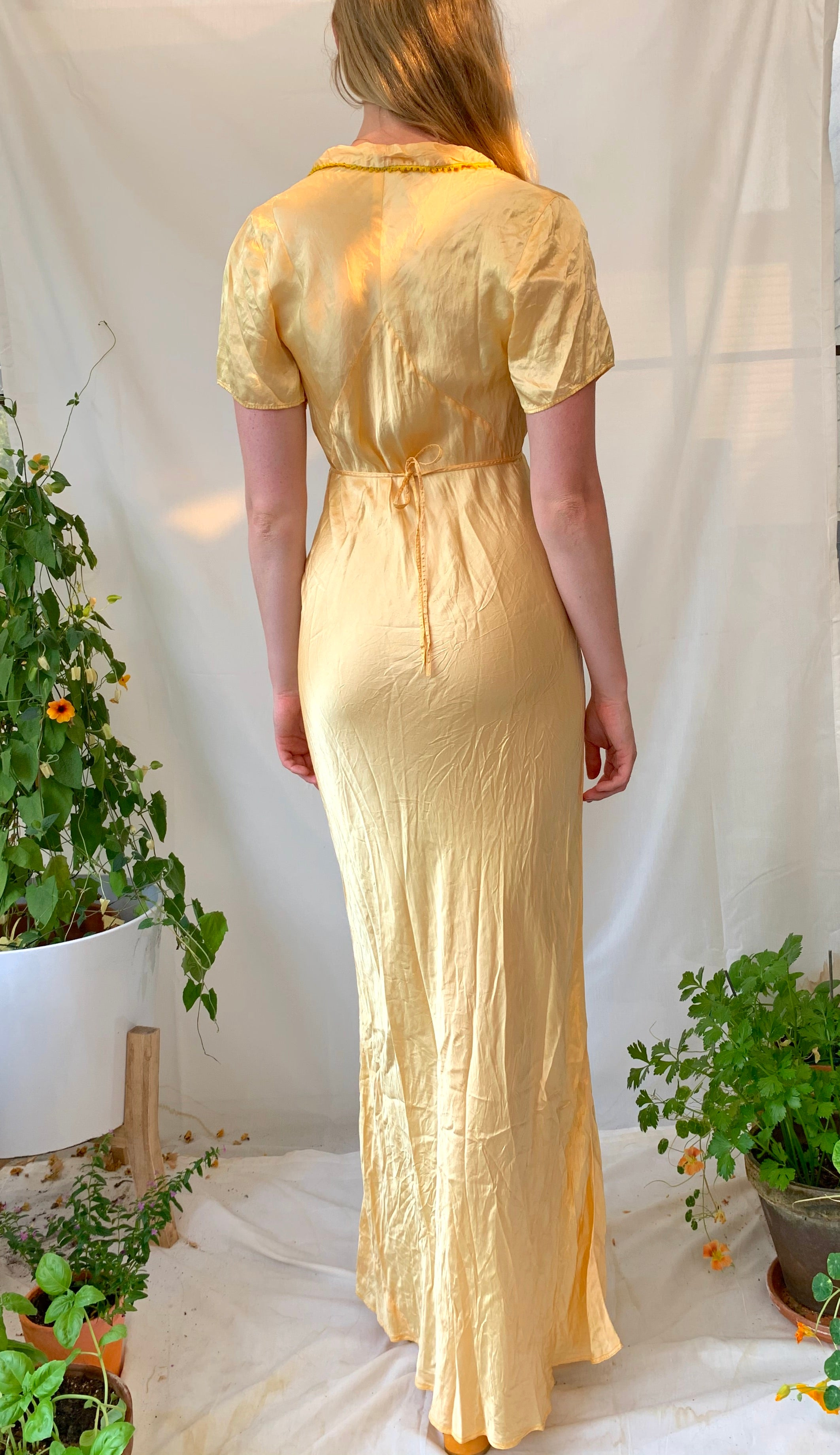 Hand Dyed Clementine Dress With Short Sleeve and Rounded Collar