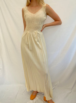 Cream Silk Dress with Delicate Floral Embroidery