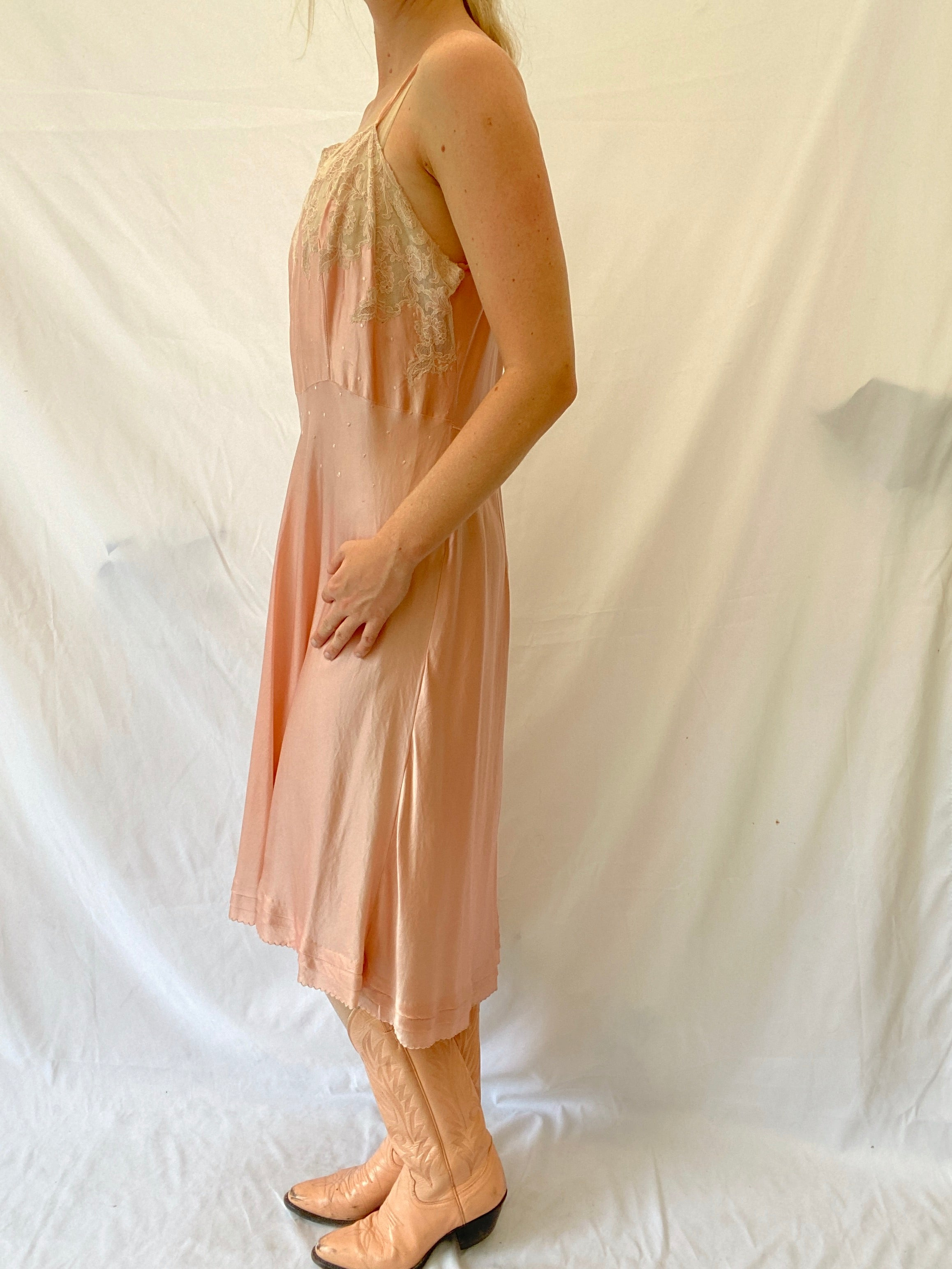 Pink Silk Slip With Embroidery