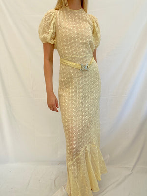 Yellow Cotton Organza Dress with Puffed Sleeves