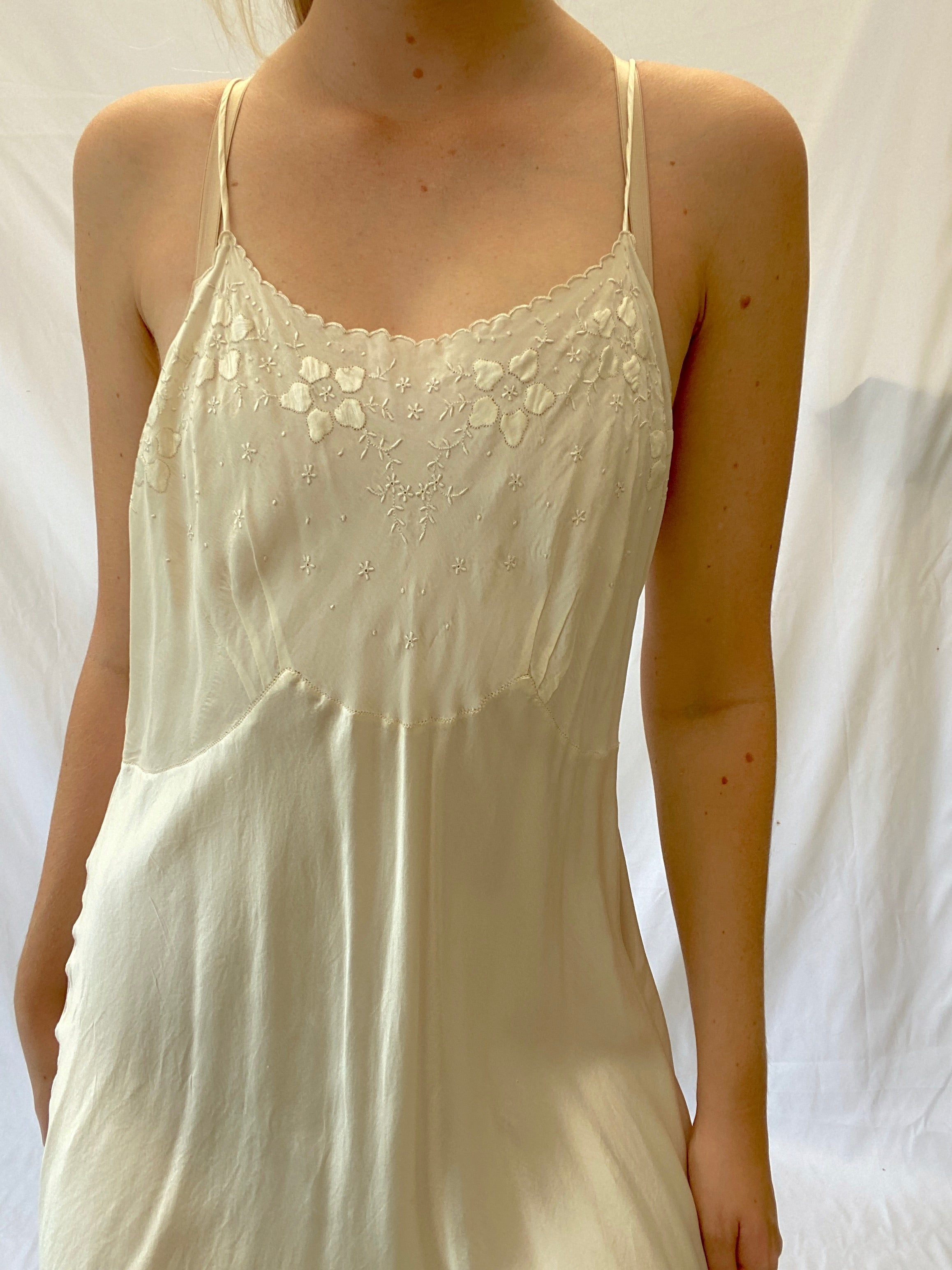 White Silk Slip With Delicate Floral Embroidery