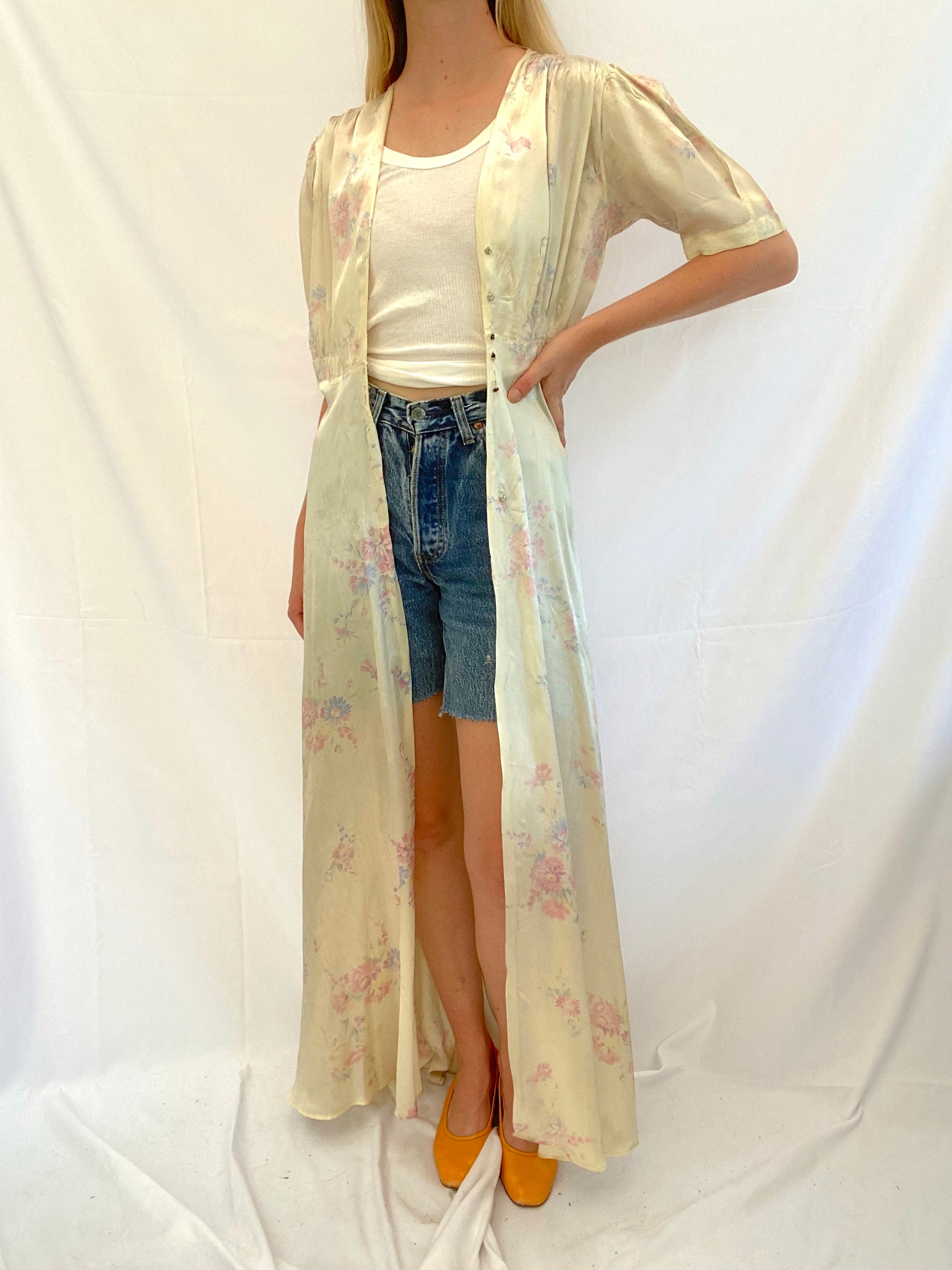 Cream Silk Floral Print Robe
