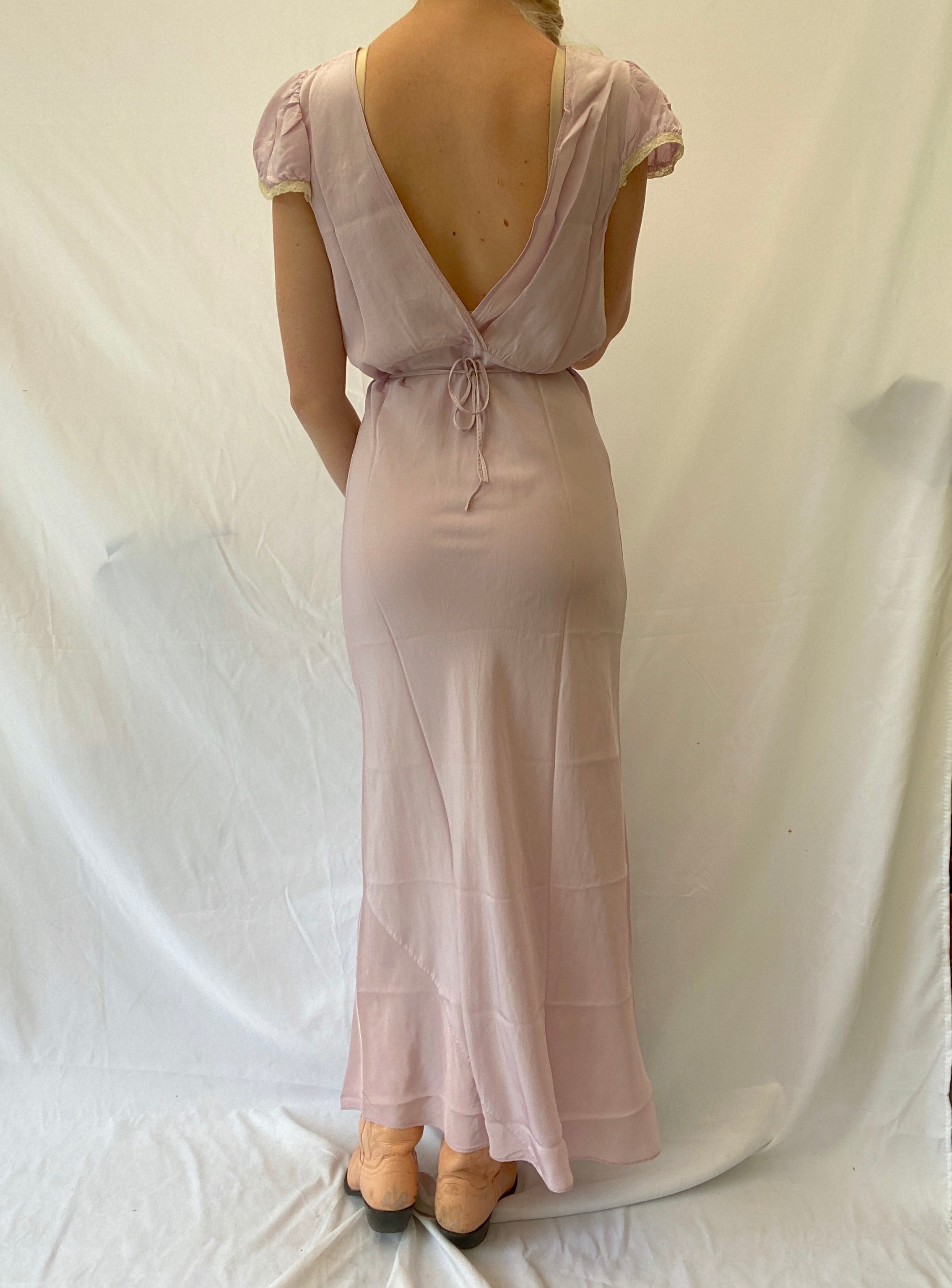 1940's Lilac Slip with Cap Sleeve and Cream Lace