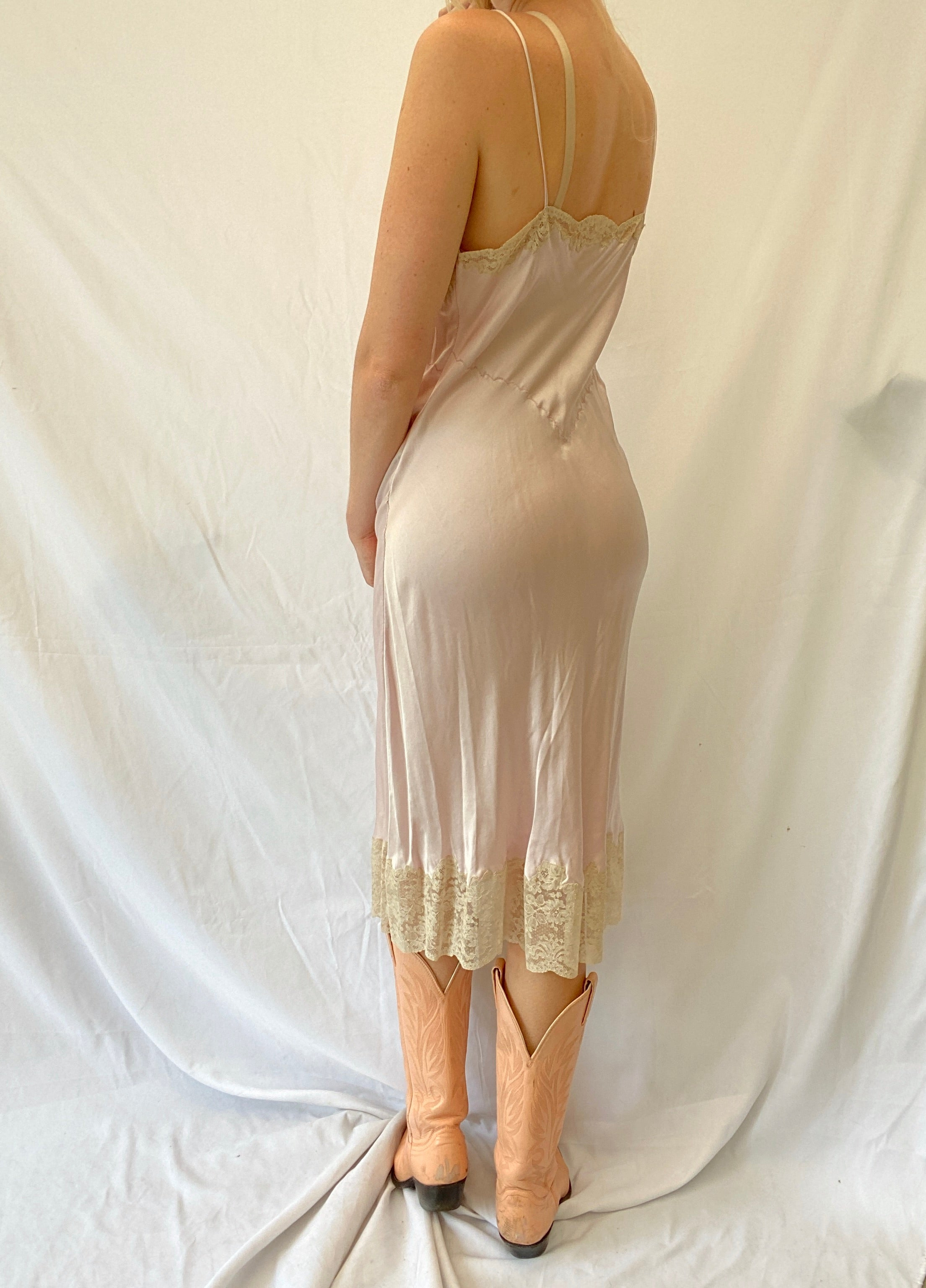 Lilac Silk Slip with Embroidery and Cream Lace