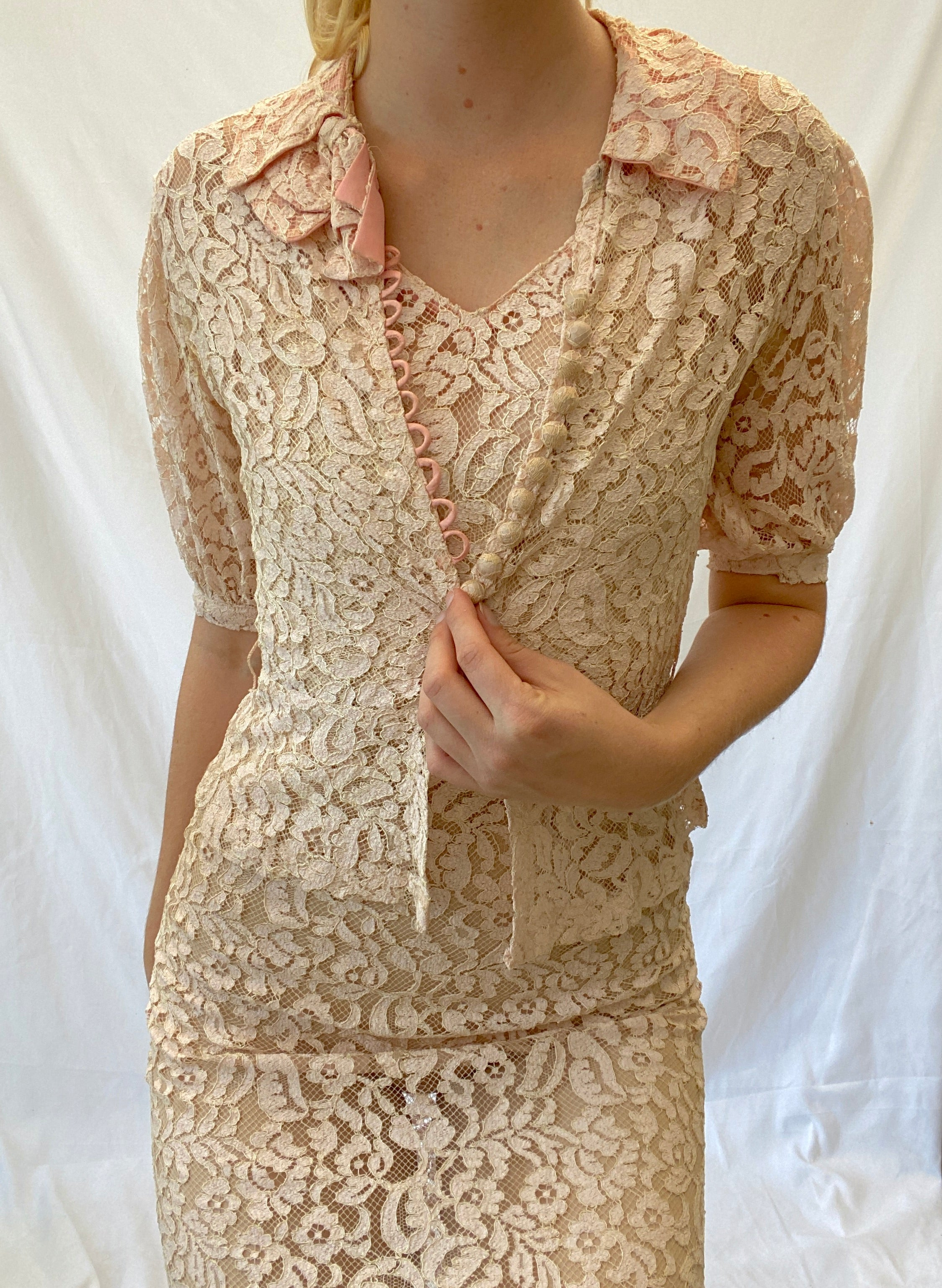 Pale Pink Lace Dress with Matching Lace Jacket