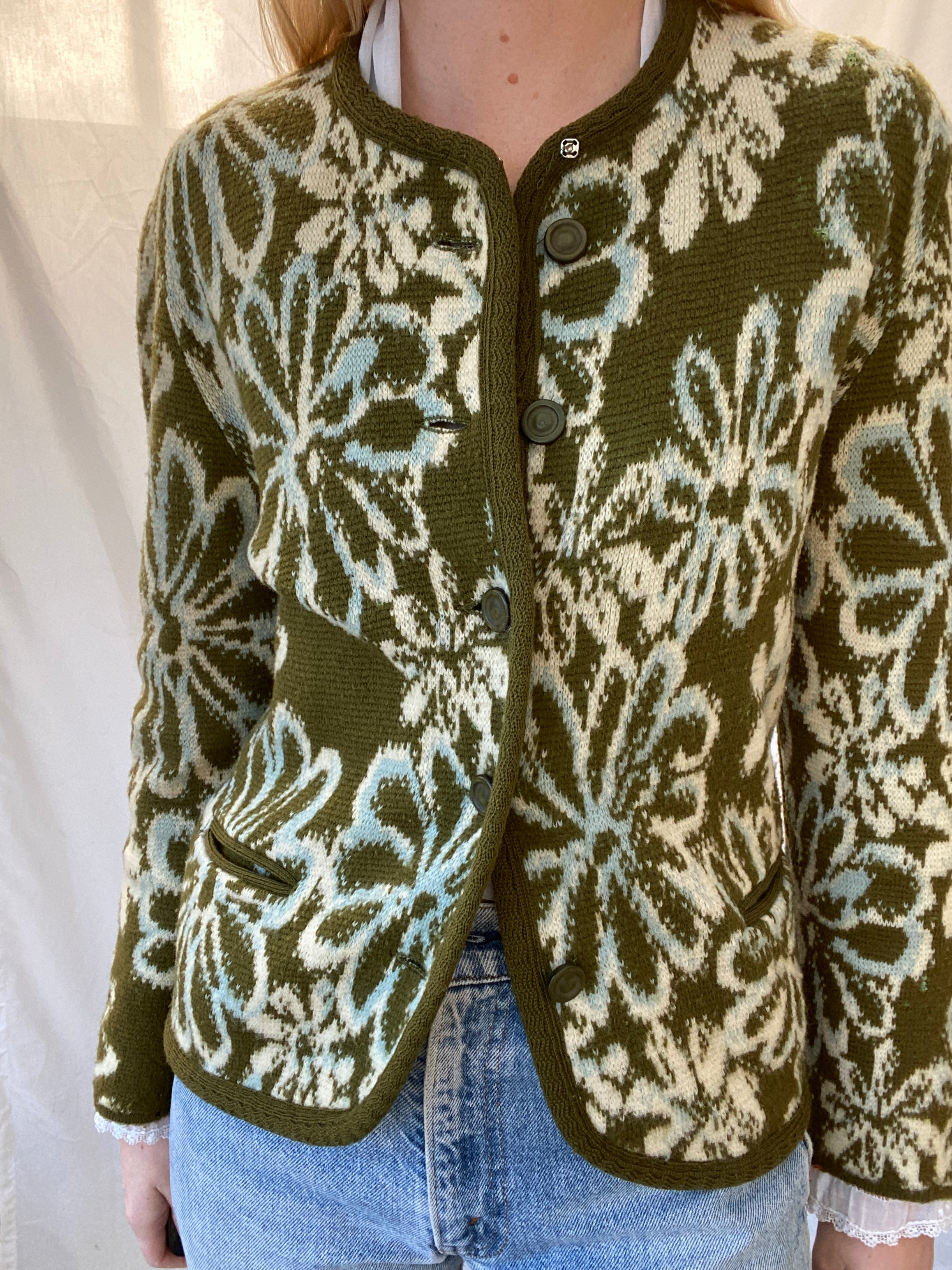1960's Green Floral Cardigan