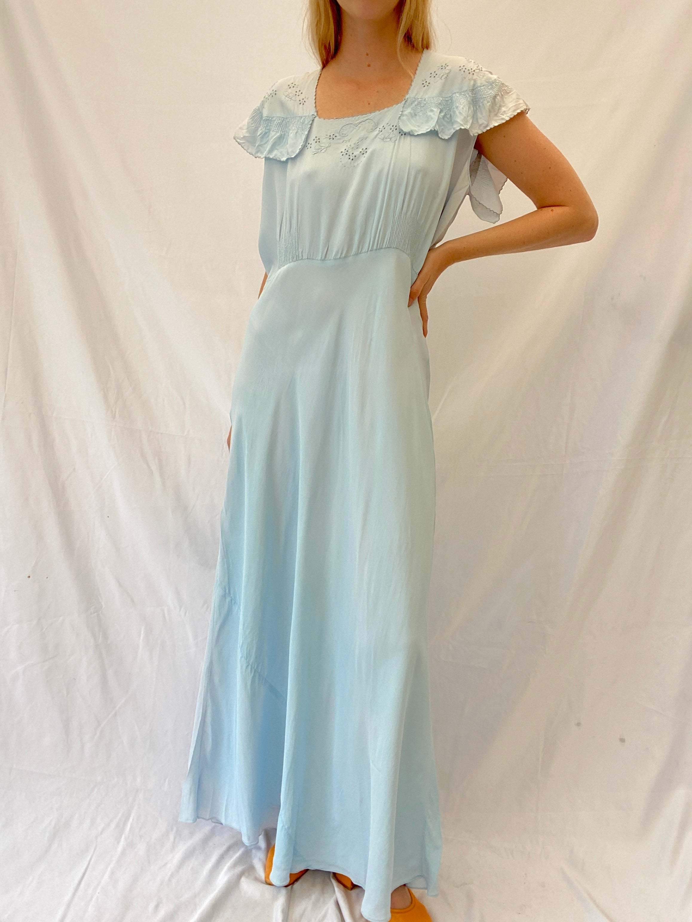 1930's Blue Hand Embroidered Slip