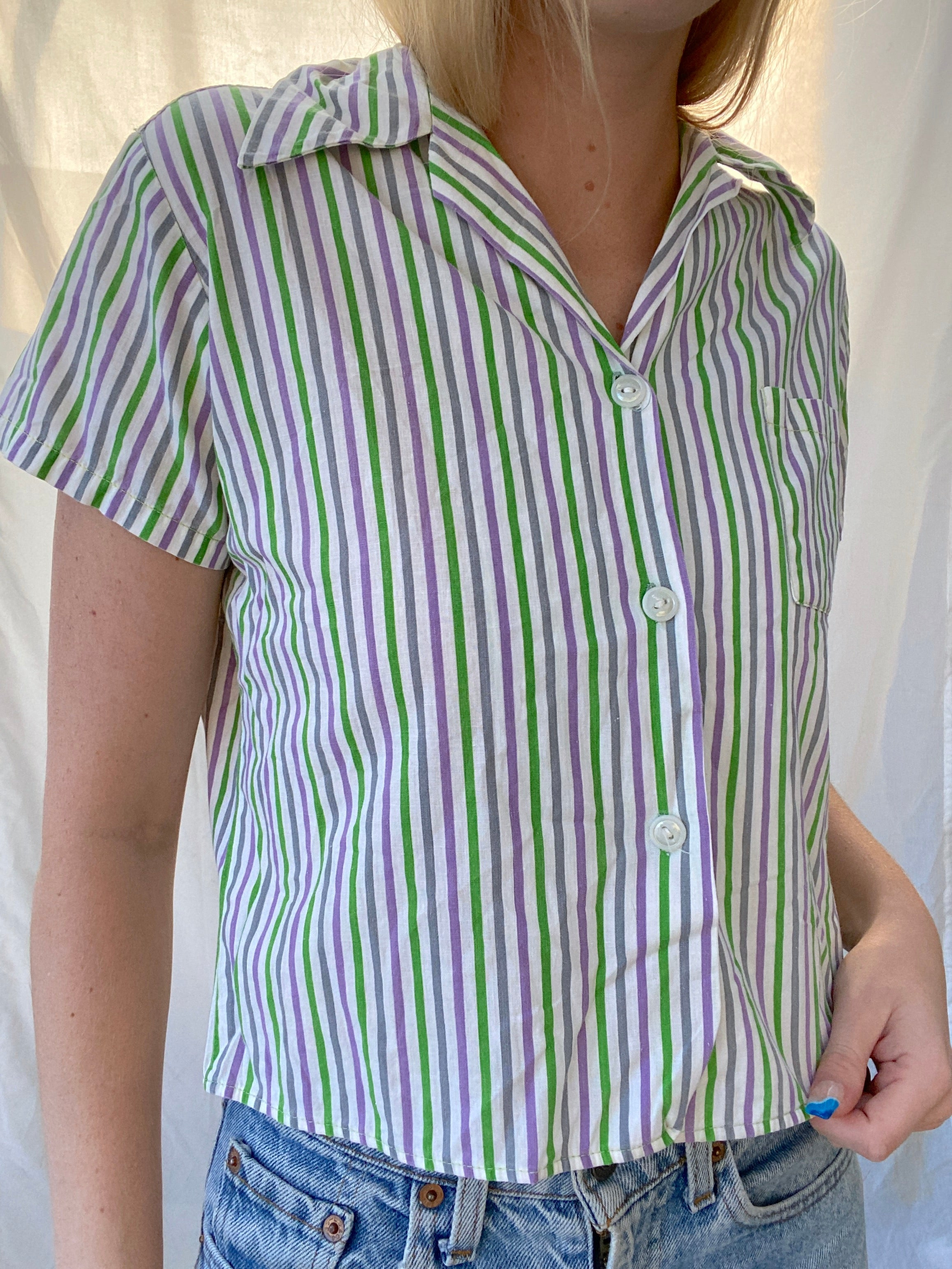 Green And Purple Striped Button Up Short Sleeve Shirt