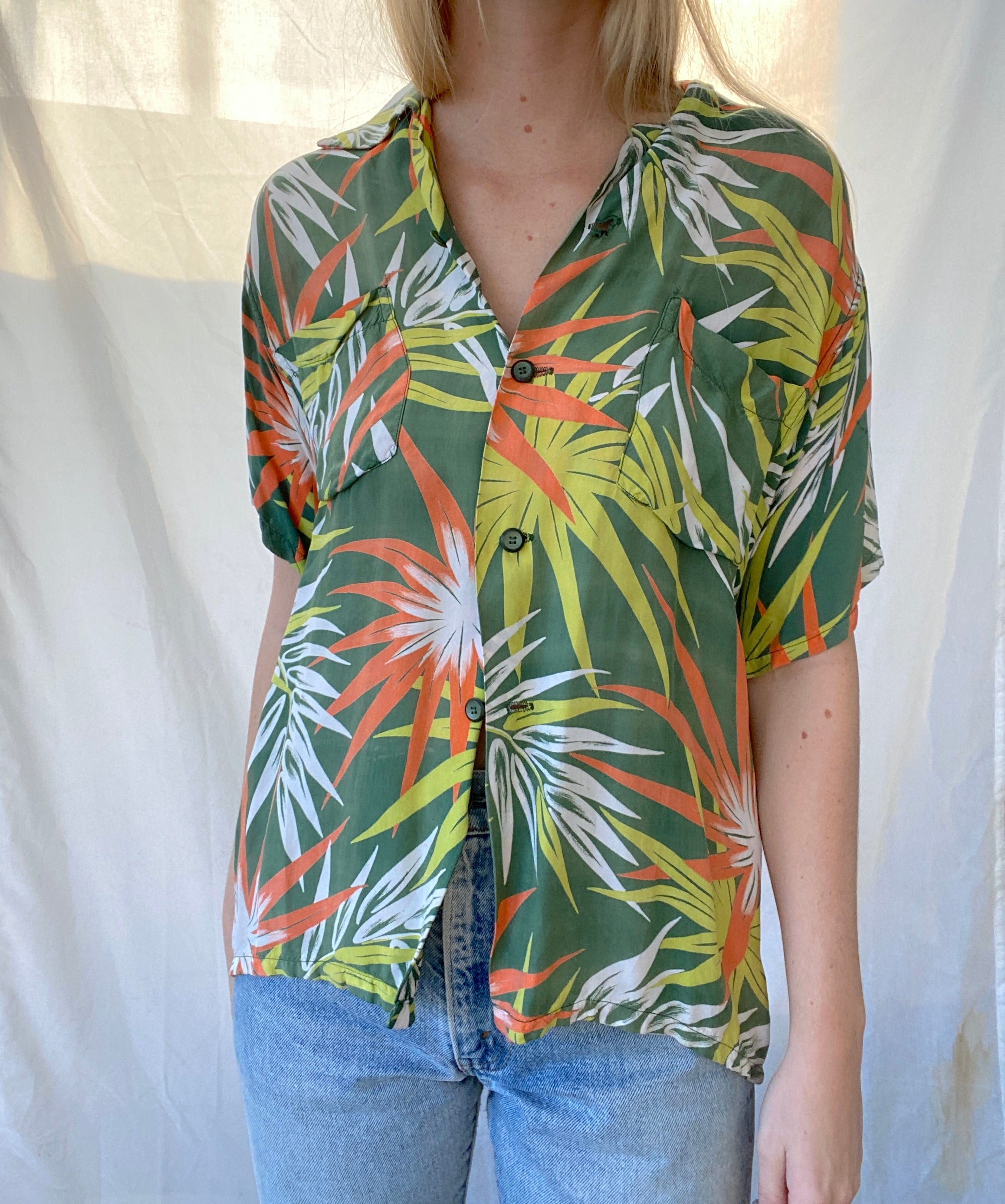 Floral Print Hawaiian Button Down Shirt
