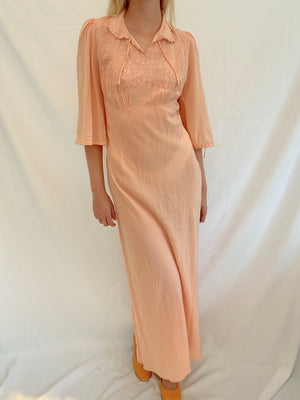 Peach Silk Dress with 3/4 Sleeves