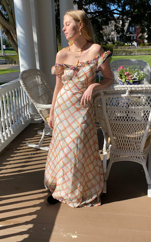 1930's Orange, Lime and Blue Plaid Organza Summer Garden Party Dress