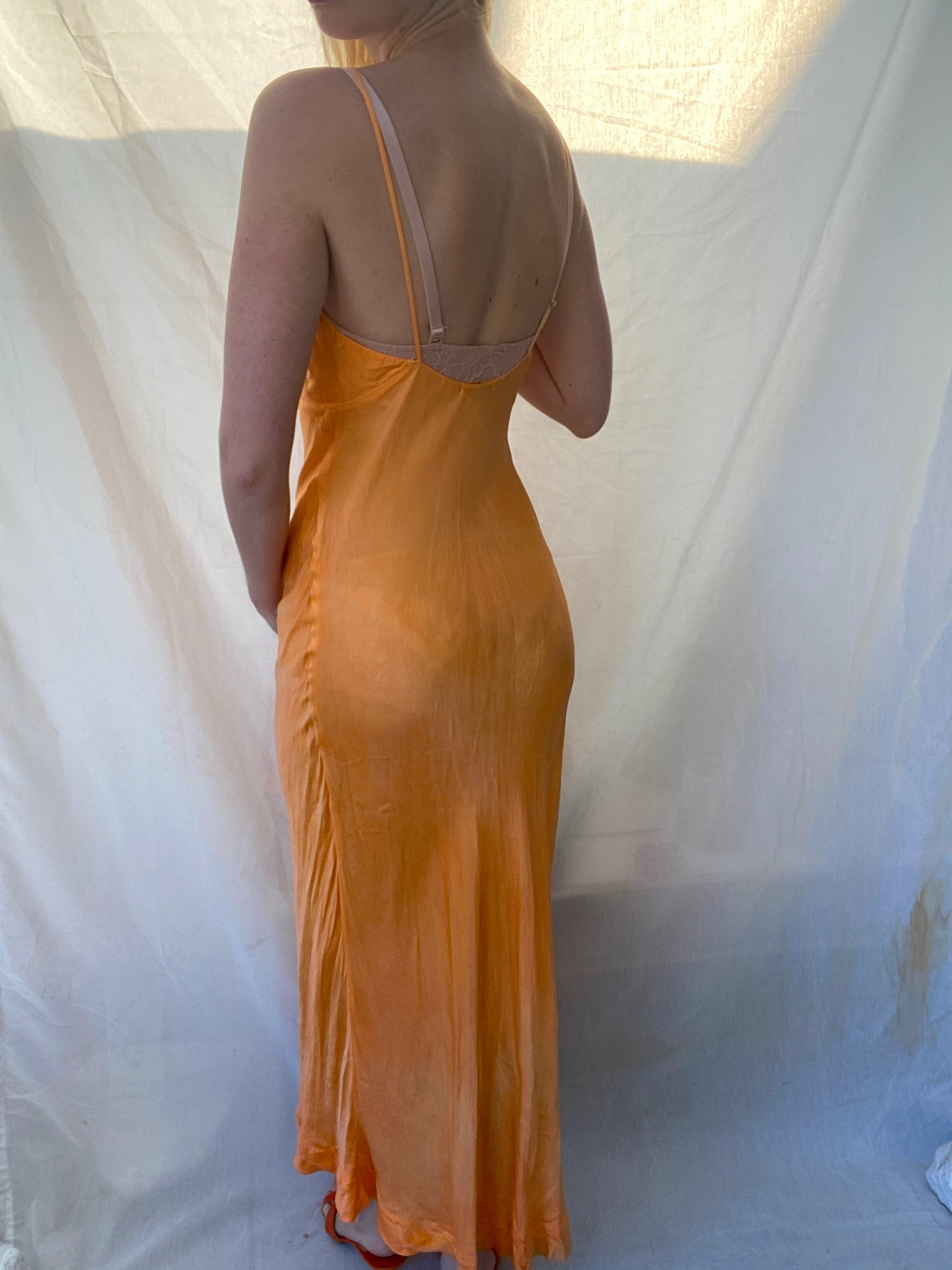 Hand Dyed Orange Spaghetti Strap 1930's Slip