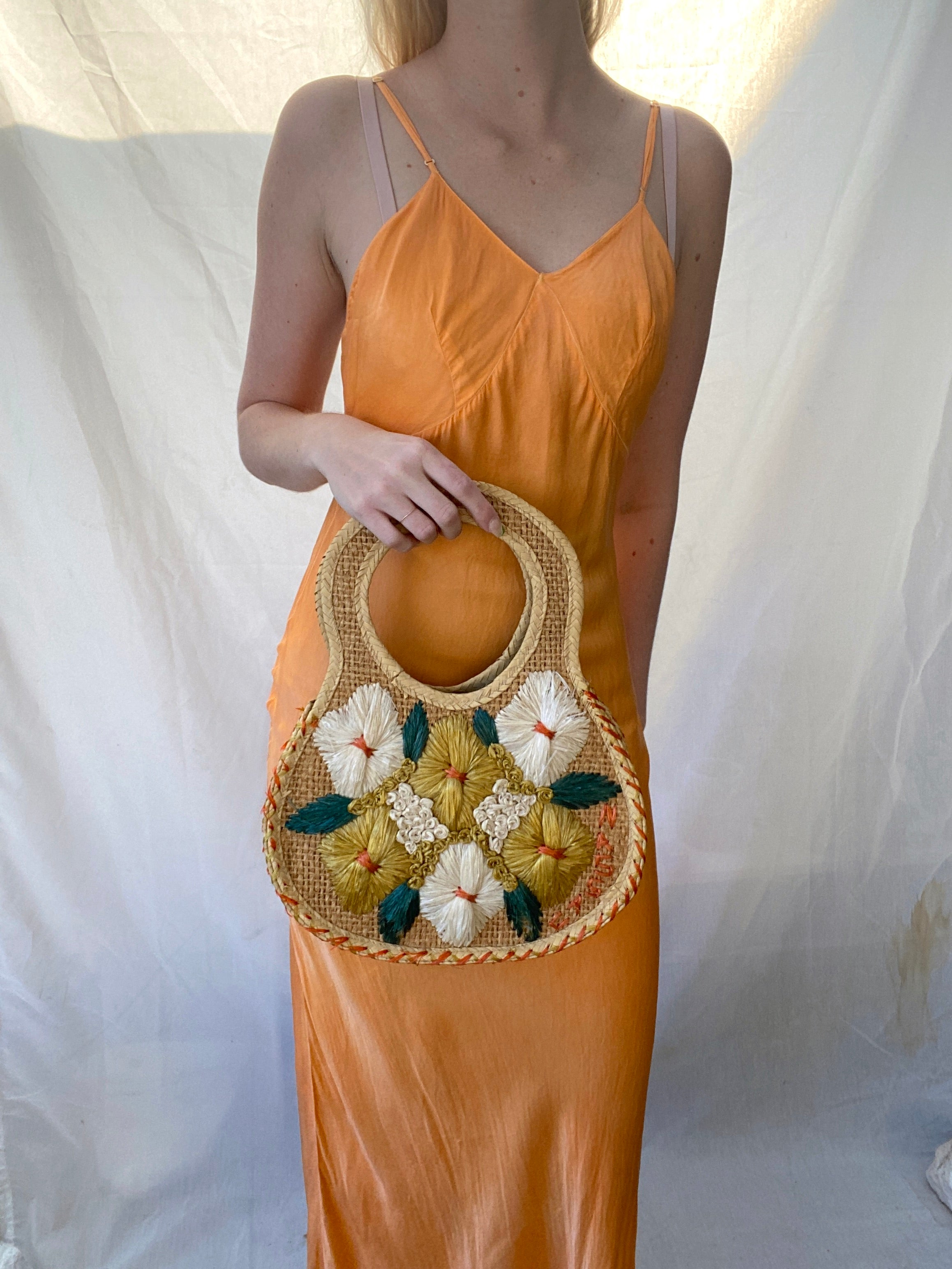 1960's Floral Top Handle Straw Bag