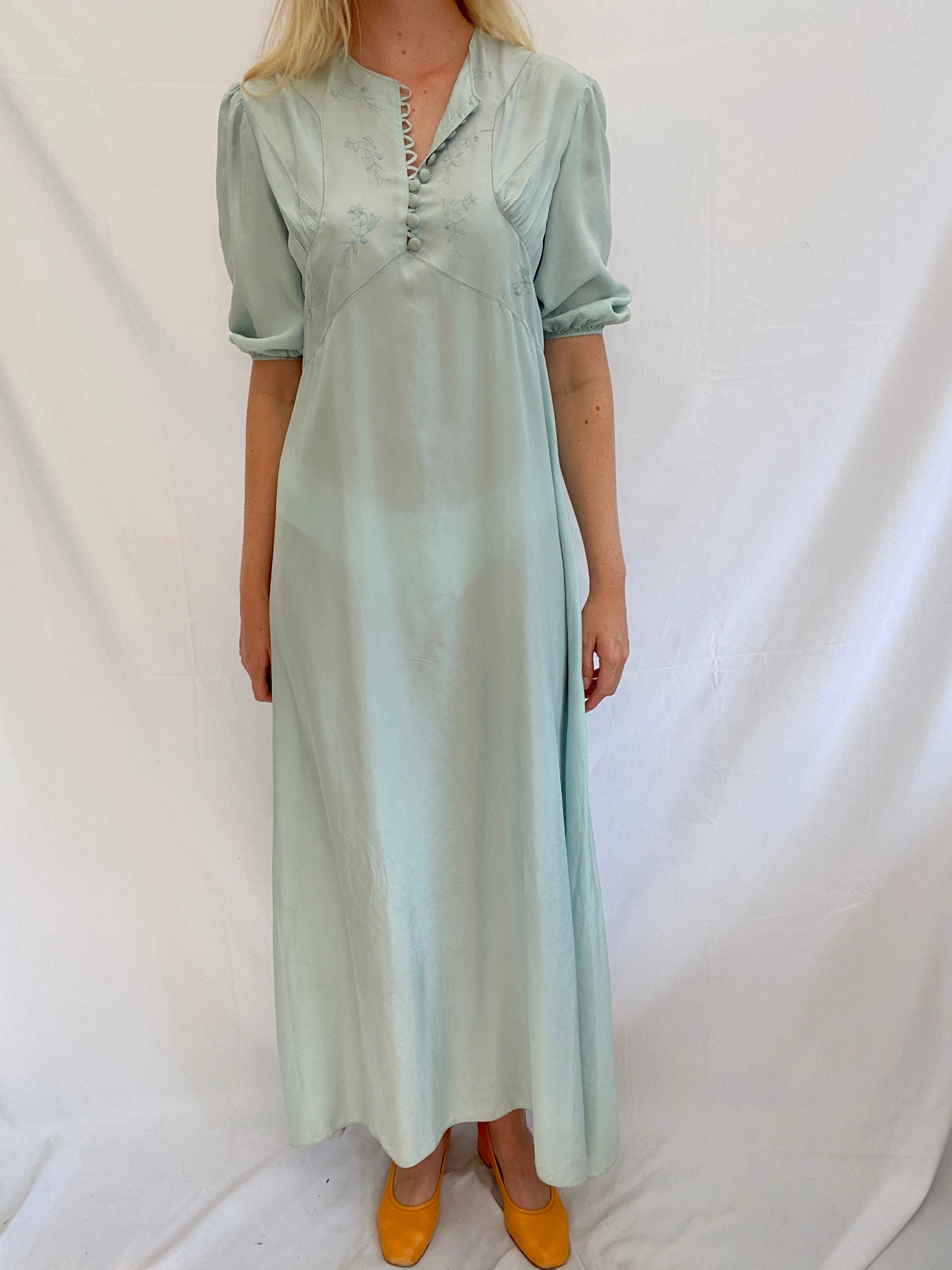 Ocean Blue Silk Dress with Puffed Sleeves