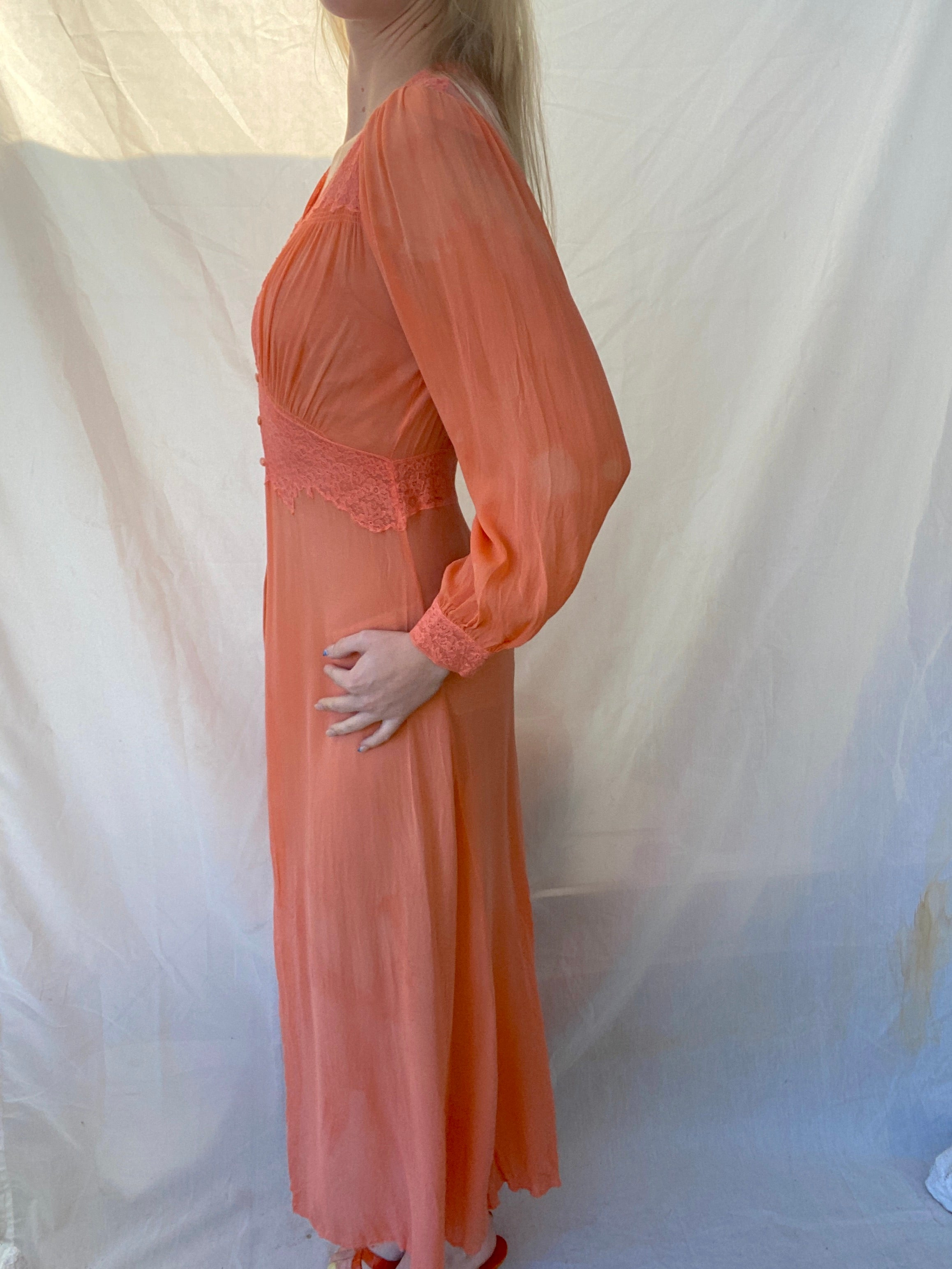 Hand Dyed Dusty Orange 1930's Chiffon Robe