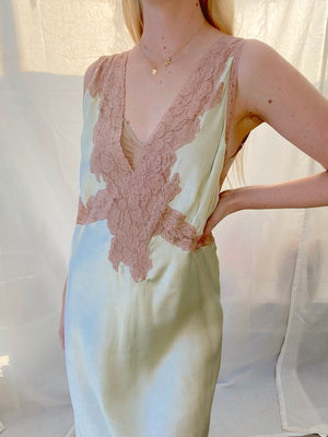 1930's Mint Green Slip with Cream Lace