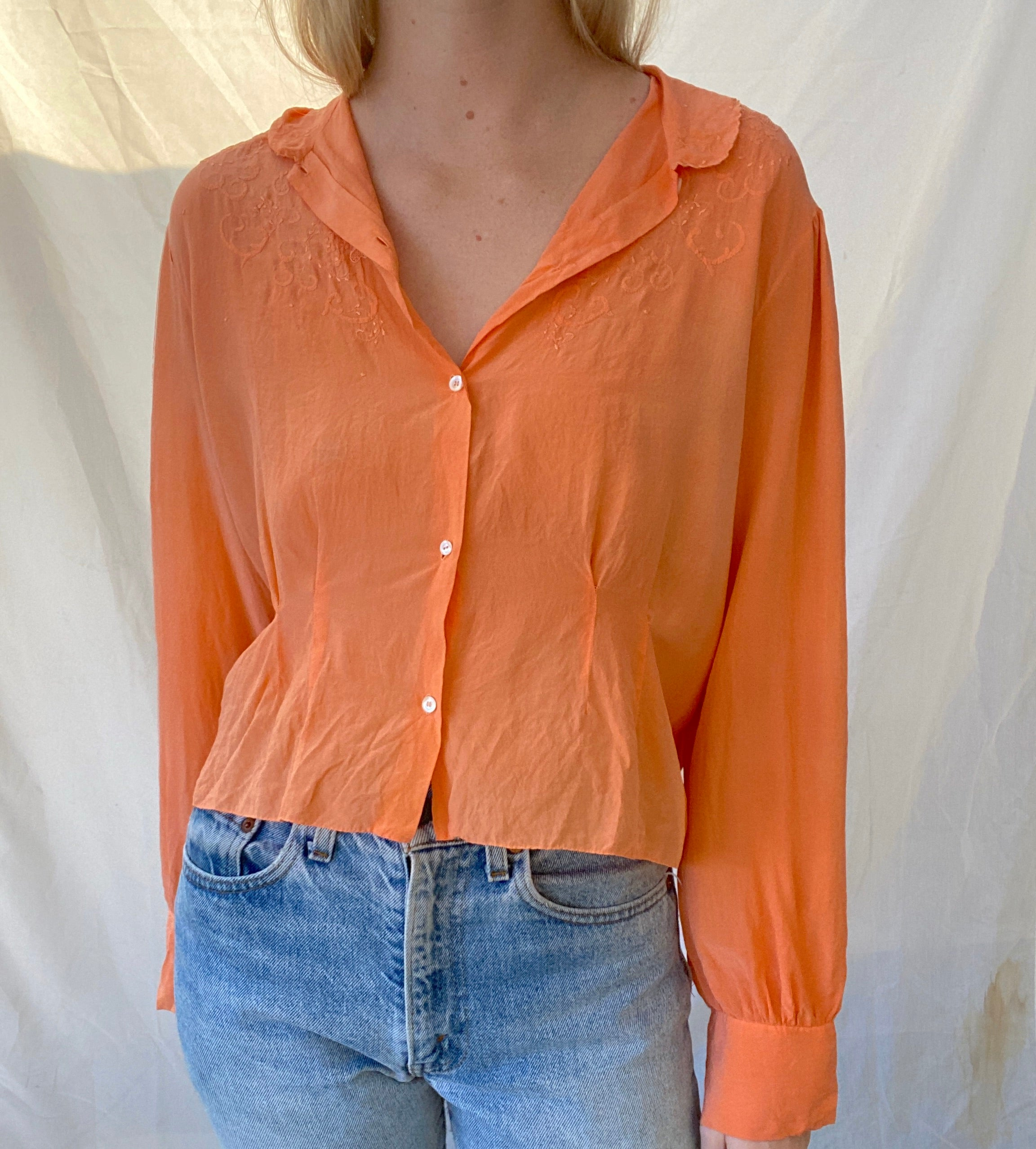 Hand Dyed Dusty Orange Silk 1930's Button Down