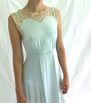 1940's Aqua Silk Dress with Cream Lace Inserts
