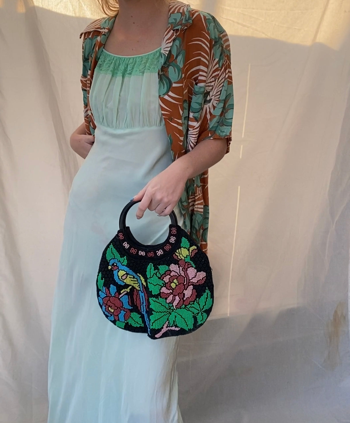1960s Top Handle Beaded Parrot Bag