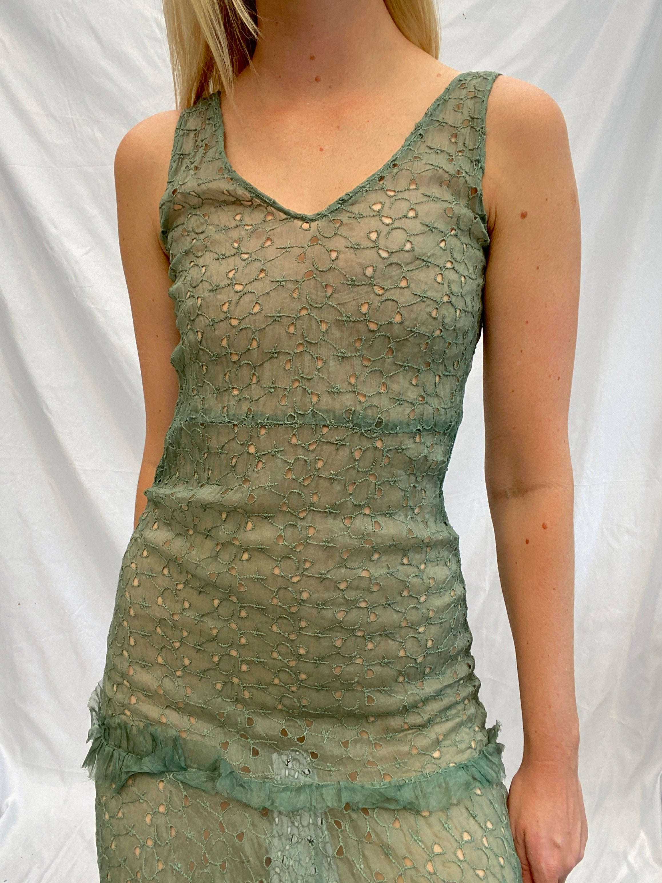 Hand Dyed Army Green Eyelet Dress