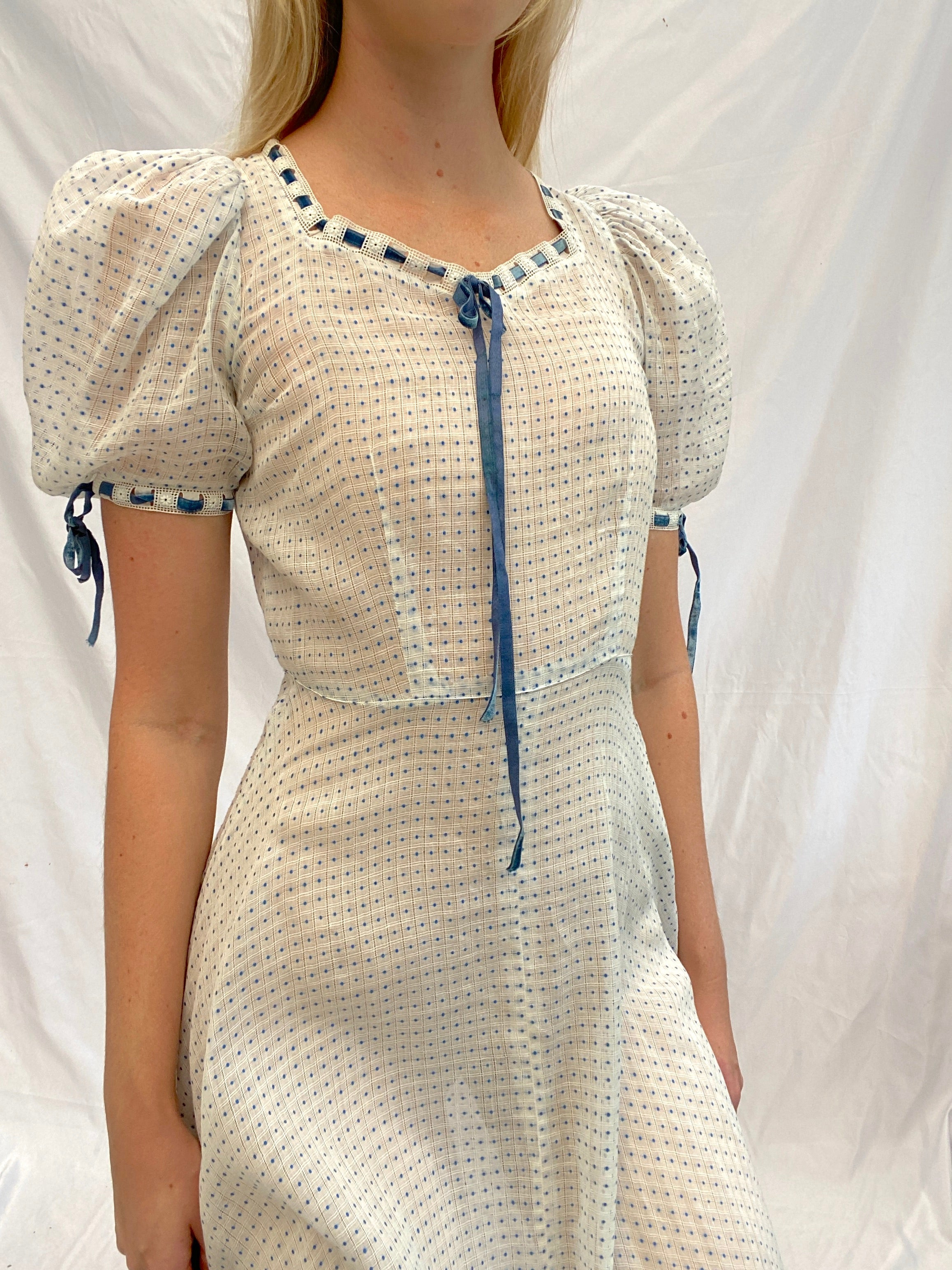 1930's White and Blue Swiss Dot Gown