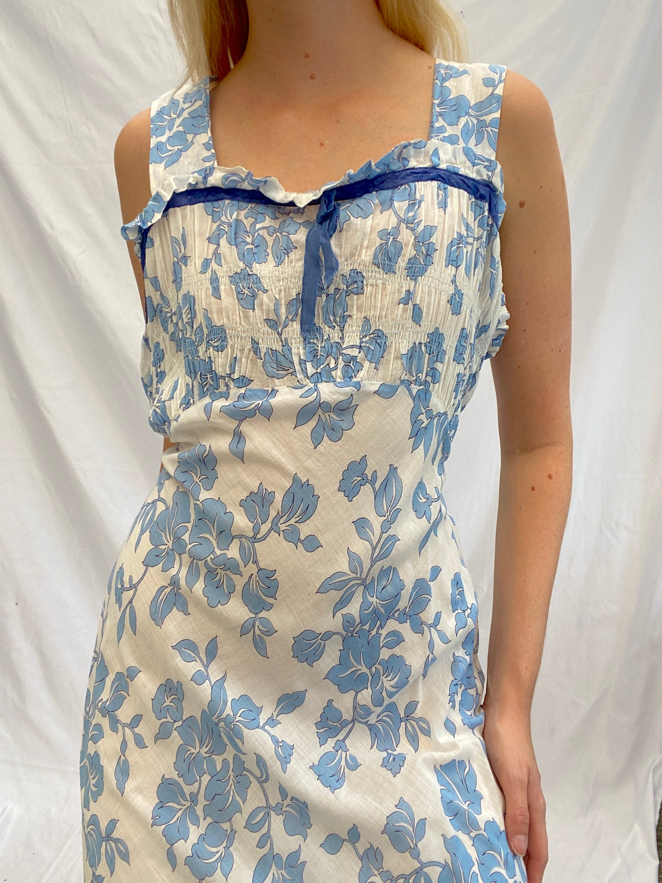 1930s Blue Floral Print Cotton Slip
