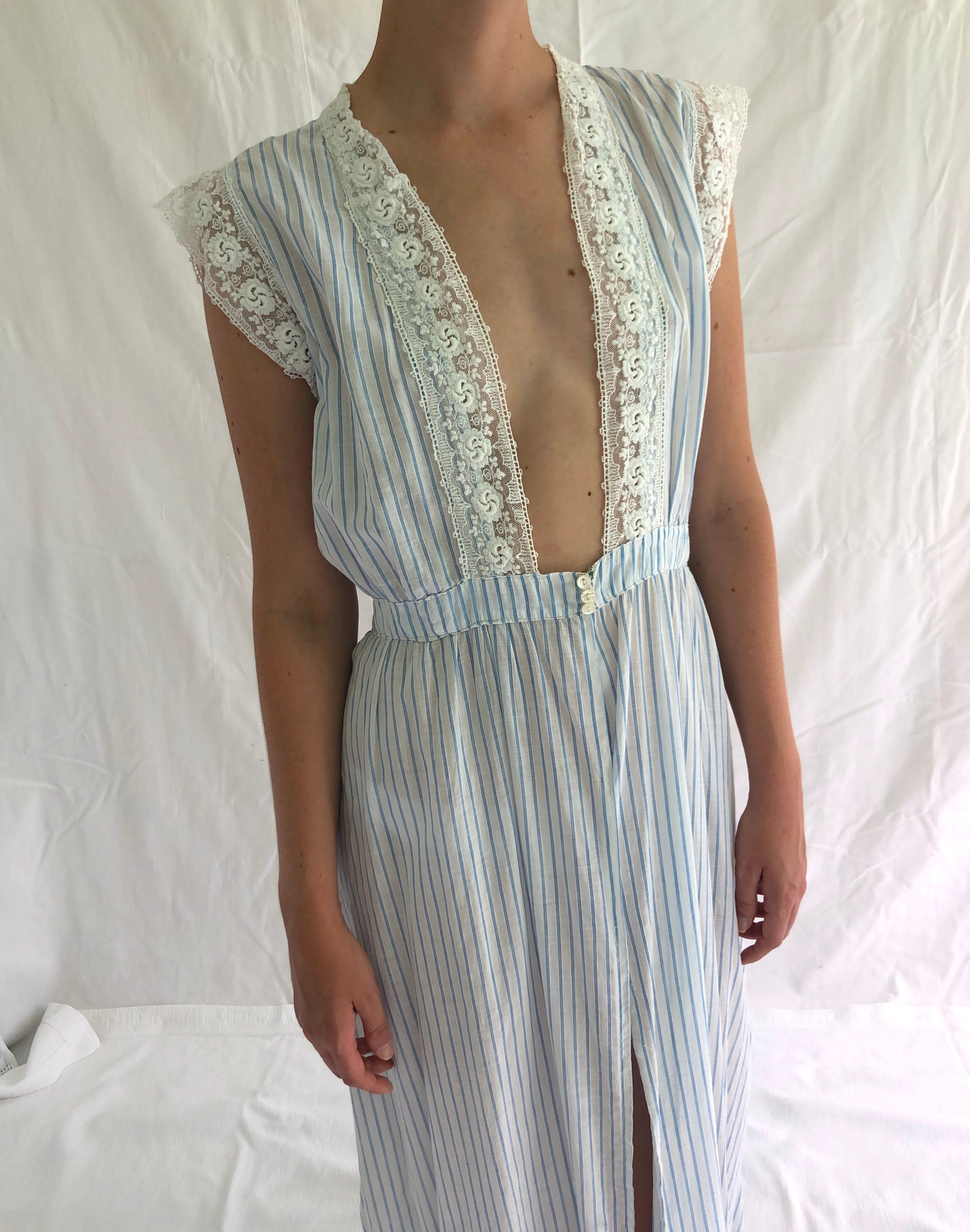 1930's White Cotton Duster with Blue Stripes