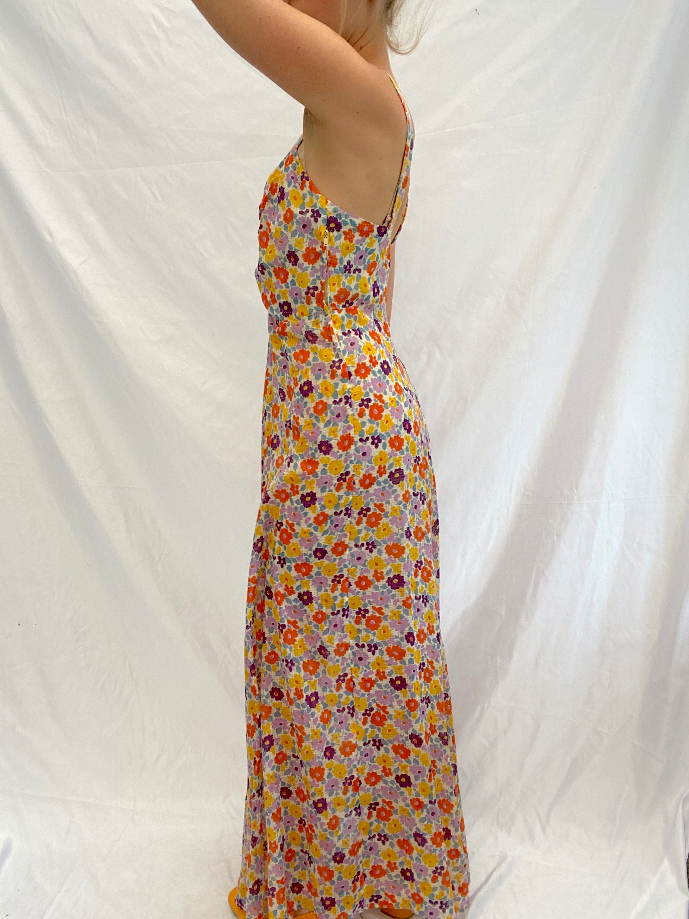1930's Purple, Lilac and Orange Floral Print Dress with Matching Bolero