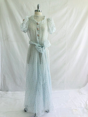 1930's Long Organza Garden Party Dress