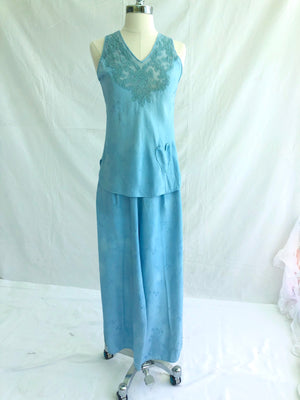 1950's Sky Blue Silk Pajama 2-Piece Set with Heart Pocket