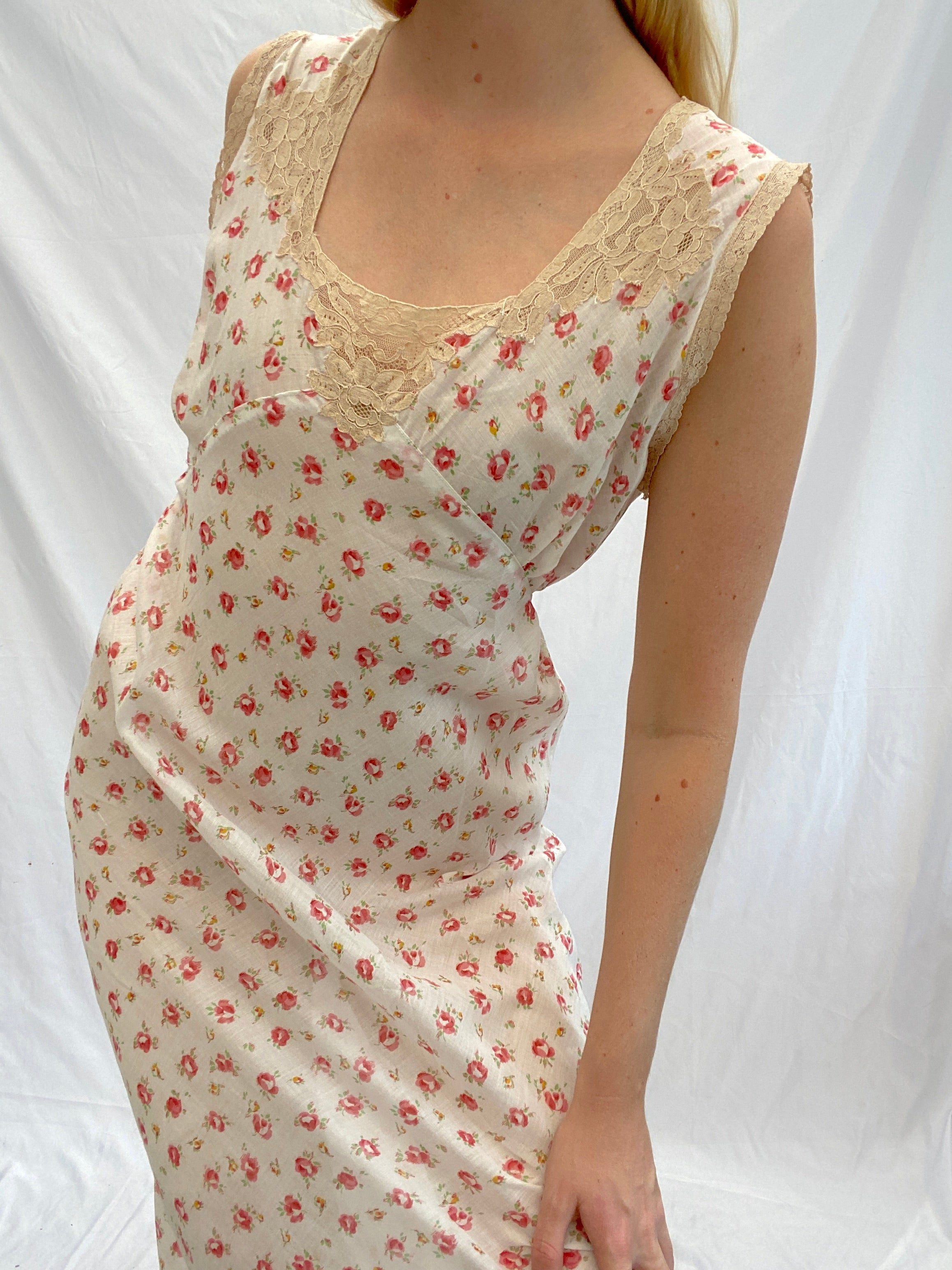 1930's Dainty Rose Print Cotton Slip Dress