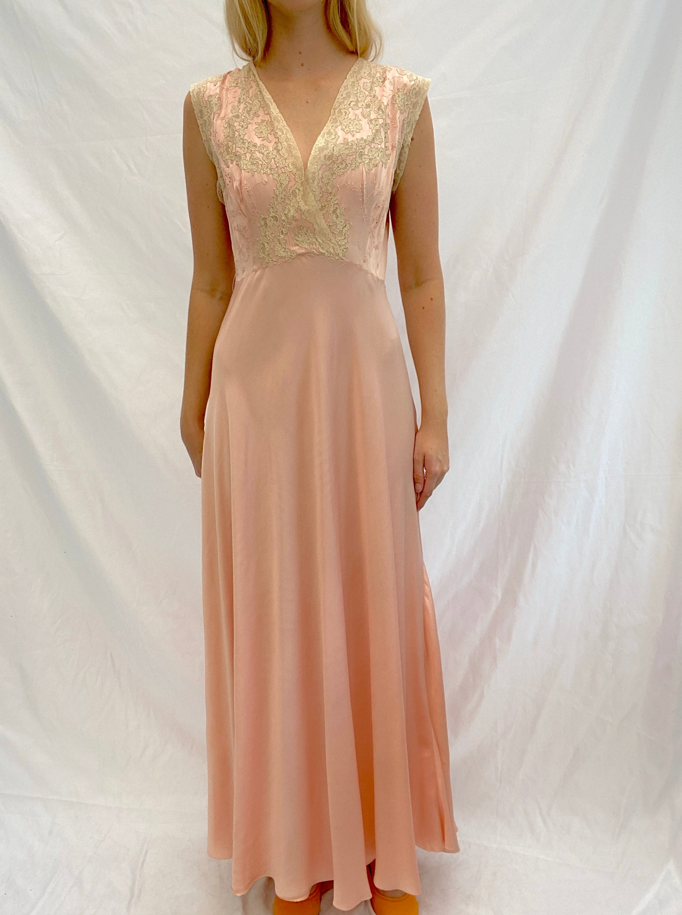 Pink Silk Slip Dress with Beautiful Cream Lace and Embroidery