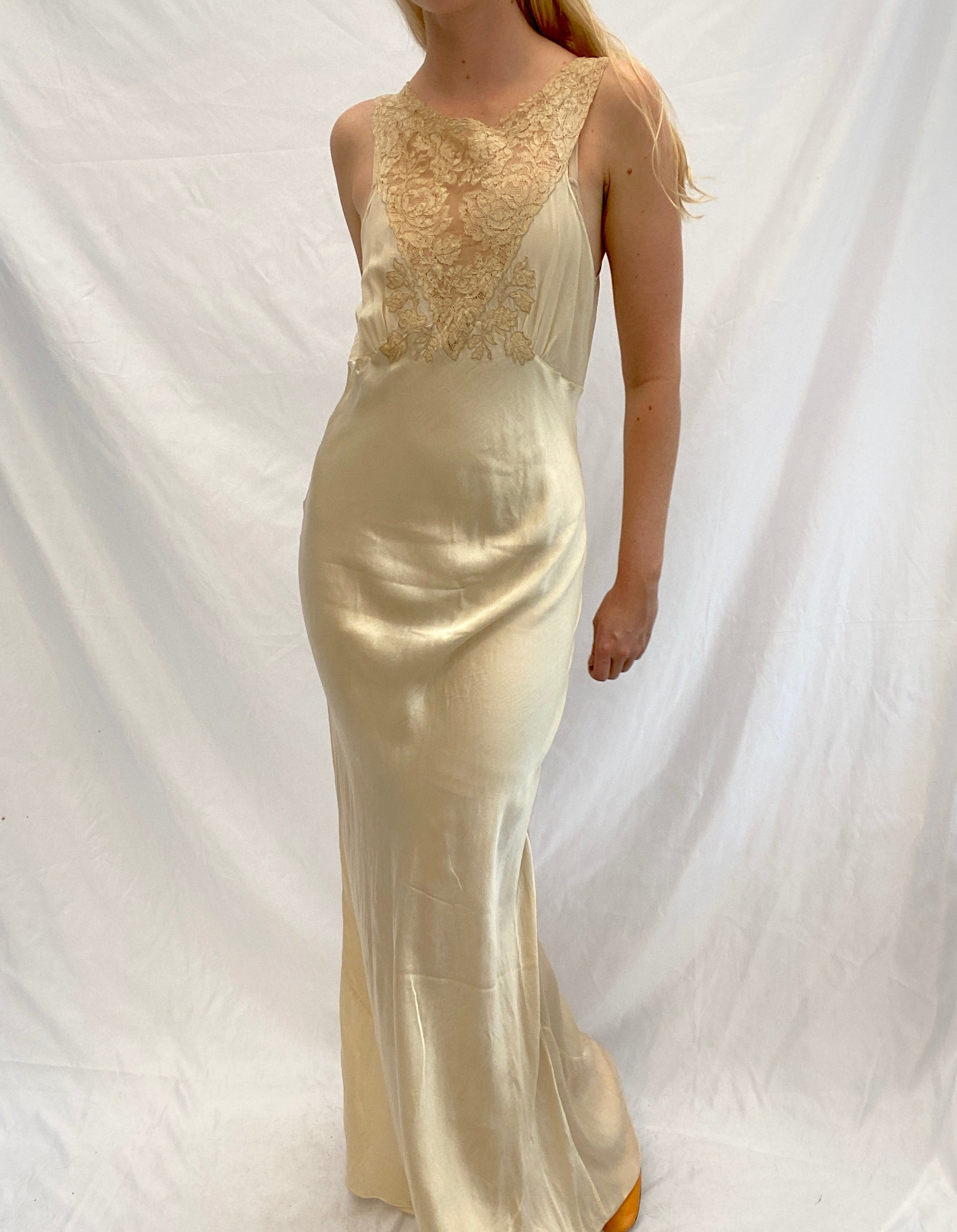 Champagne Silk Slip with Chiffon Bust