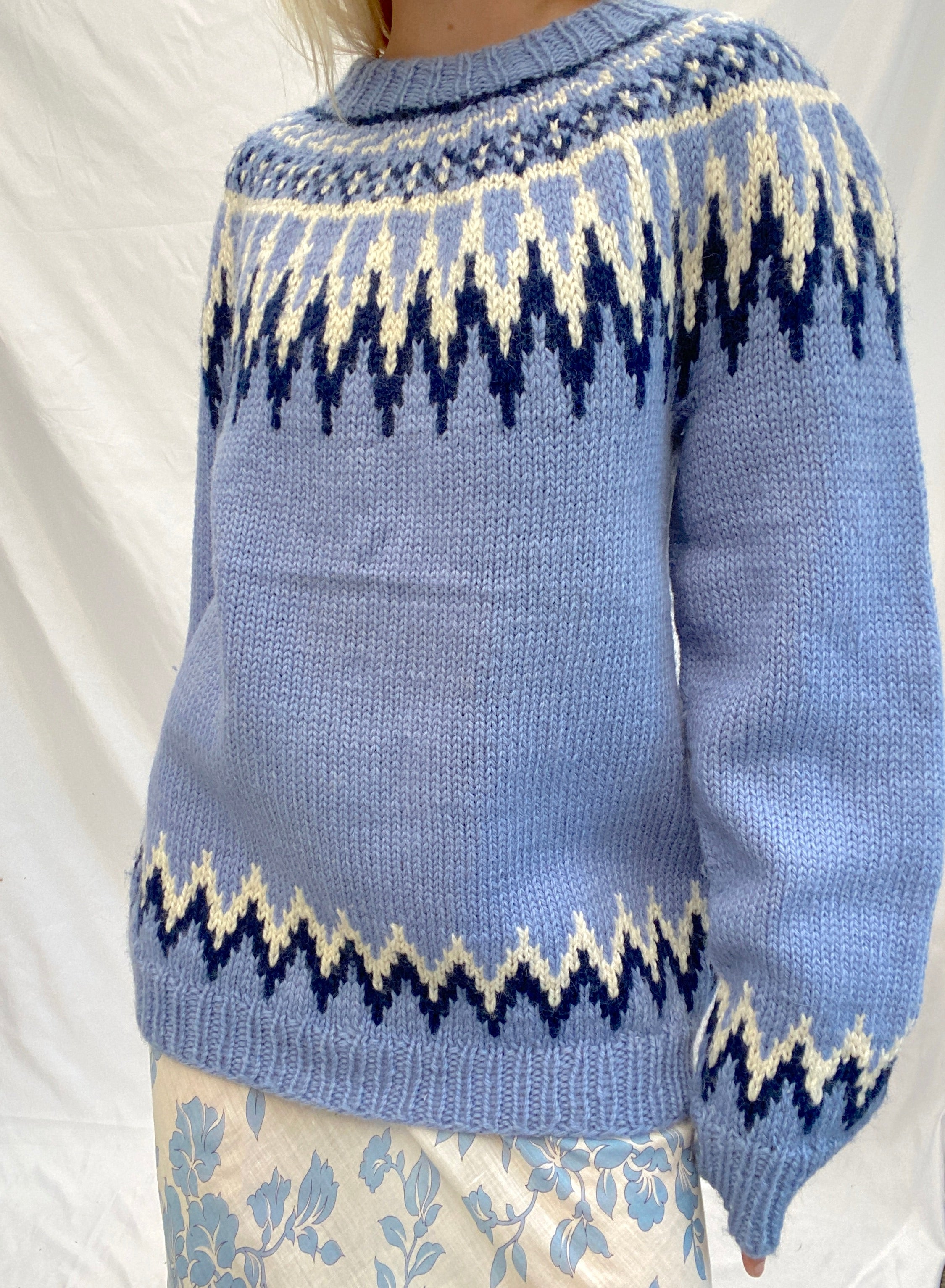 Blue and White Nordic Knit Sweater