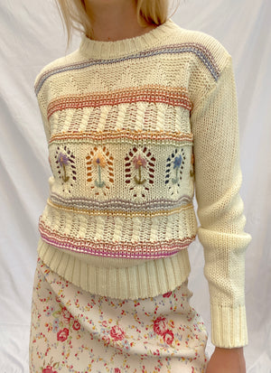 Cream Knit Sweater with Floral Pattern