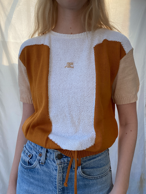 Brown Panel Terry Cloth Courreges Top