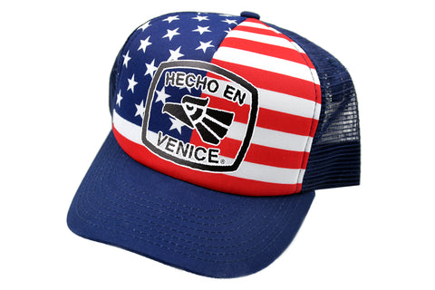 HECHO EN VENICE STARS & STRIPES TRUCKER HAT