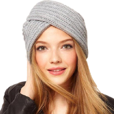 f7111cb77ac New Knitted Turban Hat For Women Winter Beanies Cap Fashion Ladies Indian  Turban Caps Solid Headwear