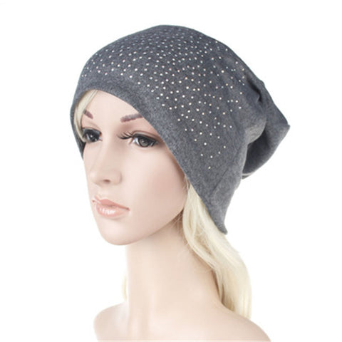 7507860fe6fbbd New Women Beanie Hat Winter Hats With Rhinestones Cotton Slouchy Cap  Fashion Skullies Beanies Autumn Knitted