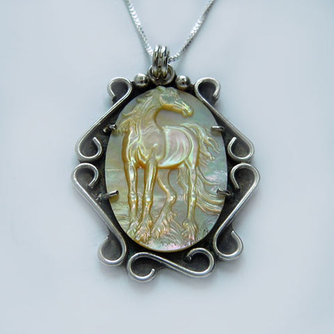 Scroll Work Oval MOP Carved Horse Pendant Necklace